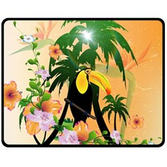 Cute Toucan With Palm And Flowers Fleece Blanket (medium)