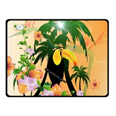 Cute Toucan With Palm And Flowers Fleece Blanket (small)
