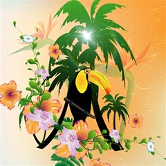 Cute Toucan With Palm And Flowers Magic Photo Cubes