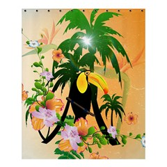 Cute Toucan With Palm And Flowers Shower Curtain 60  x 72  (Medium)