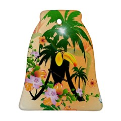 Cute Toucan With Palm And Flowers Ornament (Bell)