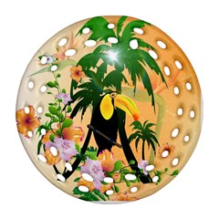 Cute Toucan With Palm And Flowers Round Filigree Ornament (2side)