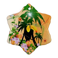 Cute Toucan With Palm And Flowers Snowflake Ornament (2-Side)
