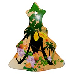 Cute Toucan With Palm And Flowers Christmas Tree Ornament (2 Sides)