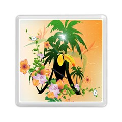 Cute Toucan With Palm And Flowers Memory Card Reader (square)