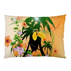 Cute Toucan With Palm And Flowers Pillow Cases (Two Sides)