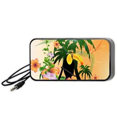 Cute Toucan With Palm And Flowers Portable Speaker (black)