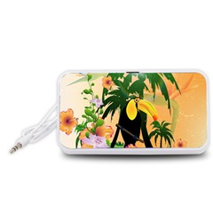 Cute Toucan With Palm And Flowers Portable Speaker (White)