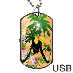 Cute Toucan With Palm And Flowers Dog Tag USB Flash (One Side)