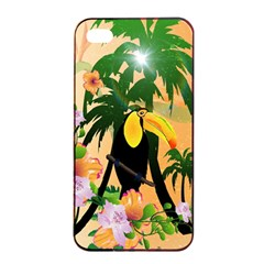 Cute Toucan With Palm And Flowers Apple Iphone 4/4s Seamless Case (black)