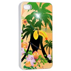 Cute Toucan With Palm And Flowers Apple iPhone 4/4s Seamless Case (White)