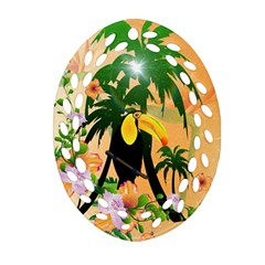 Cute Toucan With Palm And Flowers Oval Filigree Ornament (2-Side)