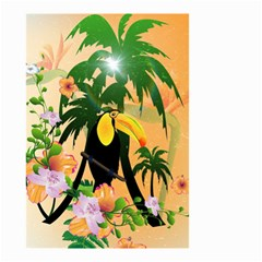 Cute Toucan With Palm And Flowers Small Garden Flag (Two Sides)