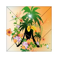 Cute Toucan With Palm And Flowers Acrylic Tangram Puzzle (6  x 6 )