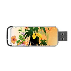 Cute Toucan With Palm And Flowers Portable Usb Flash (two Sides)