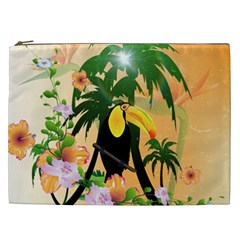 Cute Toucan With Palm And Flowers Cosmetic Bag (XXL)