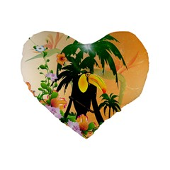 Cute Toucan With Palm And Flowers Standard 16  Premium Heart Shape Cushions