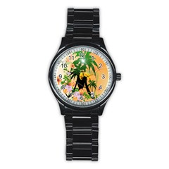 Cute Toucan With Palm And Flowers Stainless Steel Round Watches