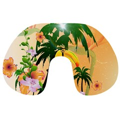 Cute Toucan With Palm And Flowers Travel Neck Pillows