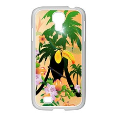Cute Toucan With Palm And Flowers Samsung GALAXY S4 I9500/ I9505 Case (White)