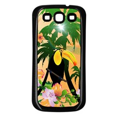 Cute Toucan With Palm And Flowers Samsung Galaxy S3 Back Case (Black)