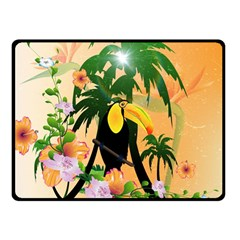 Cute Toucan With Palm And Flowers Double Sided Fleece Blanket (Small)