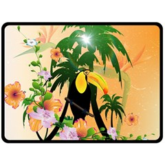 Cute Toucan With Palm And Flowers Double Sided Fleece Blanket (Large)