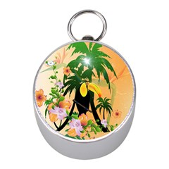 Cute Toucan With Palm And Flowers Mini Silver Compasses