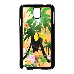 Cute Toucan With Palm And Flowers Samsung Galaxy Note 3 Neo Hardshell Case (Black)