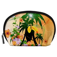 Cute Toucan With Palm And Flowers Accessory Pouches (Large)