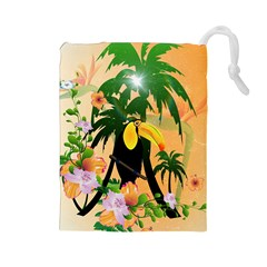 Cute Toucan With Palm And Flowers Drawstring Pouches (large)