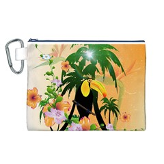 Cute Toucan With Palm And Flowers Canvas Cosmetic Bag (L)