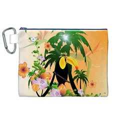 Cute Toucan With Palm And Flowers Canvas Cosmetic Bag (XL)