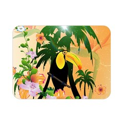 Cute Toucan With Palm And Flowers Double Sided Flano Blanket (mini)