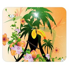 Cute Toucan With Palm And Flowers Double Sided Flano Blanket (small)