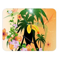 Cute Toucan With Palm And Flowers Double Sided Flano Blanket (Large)