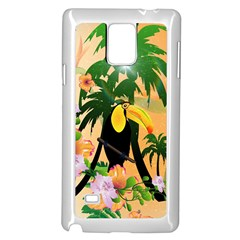 Cute Toucan With Palm And Flowers Samsung Galaxy Note 4 Case (white)