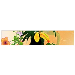 Cute Toucan With Palm And Flowers Flano Scarf (Small)