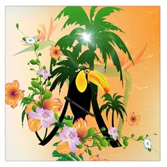 Cute Toucan With Palm And Flowers Large Satin Scarf (square)