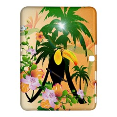 Cute Toucan With Palm And Flowers Samsung Galaxy Tab 4 (10 1 ) Hardshell Case