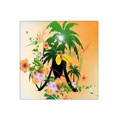 Cute Toucan With Palm And Flowers Satin Bandana Scarf