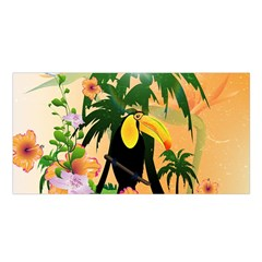 Cute Toucan With Palm And Flowers Satin Shawl