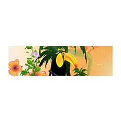 Cute Toucan With Palm And Flowers Satin Scarf (Oblong)