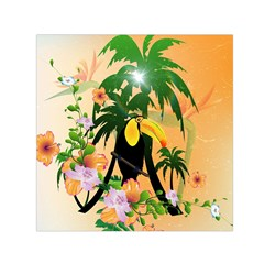 Cute Toucan With Palm And Flowers Small Satin Scarf (Square)