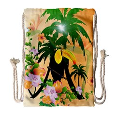 Cute Toucan With Palm And Flowers Drawstring Bag (Large)