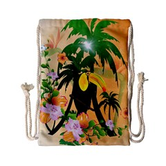 Cute Toucan With Palm And Flowers Drawstring Bag (small)