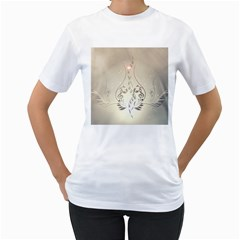 Music, Piano With Clef On Soft Background Women s T-Shirt (White) (Two Sided)