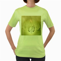 Music, Piano With Clef On Soft Background Women s Green T-Shirt
