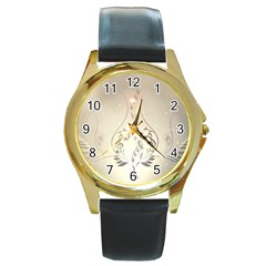 Music, Piano With Clef On Soft Background Round Gold Metal Watches