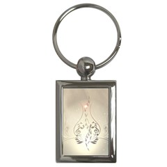 Music, Piano With Clef On Soft Background Key Chains (Rectangle)
